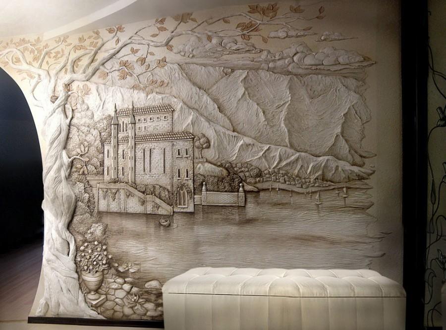 Barelef-na-stene-50 Барельеф на стене (гипсовый, декоративный): как сделать своими руками новичку, эскизы,